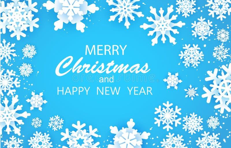 Vrolijke Gelukkige Kerstmis en de kaart van Nieuwjaargroeten De witte vlok van de Sneeuw De sneeuwvlokkenachtergrond van de winte vector illustratie
