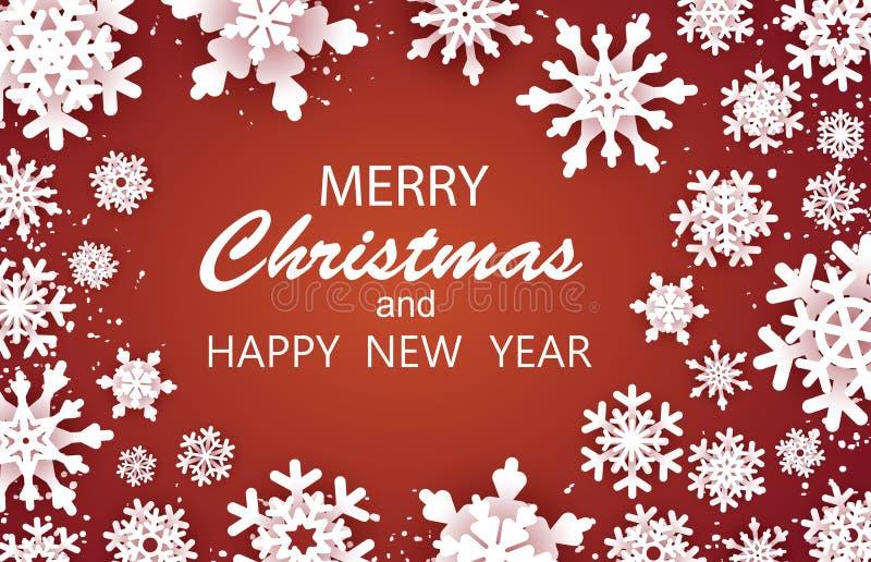 Vrolijke Gelukkige Kerstmis en de kaart van Nieuwjaargroeten De witte vlok van de Sneeuw De sneeuwvlokkenachtergrond van de winte stock illustratie