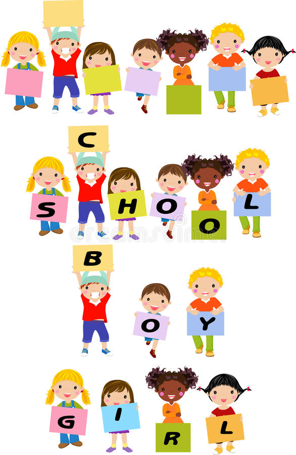 Vrolijke gelukkige leuke kinderen die banner houden stock illustratie