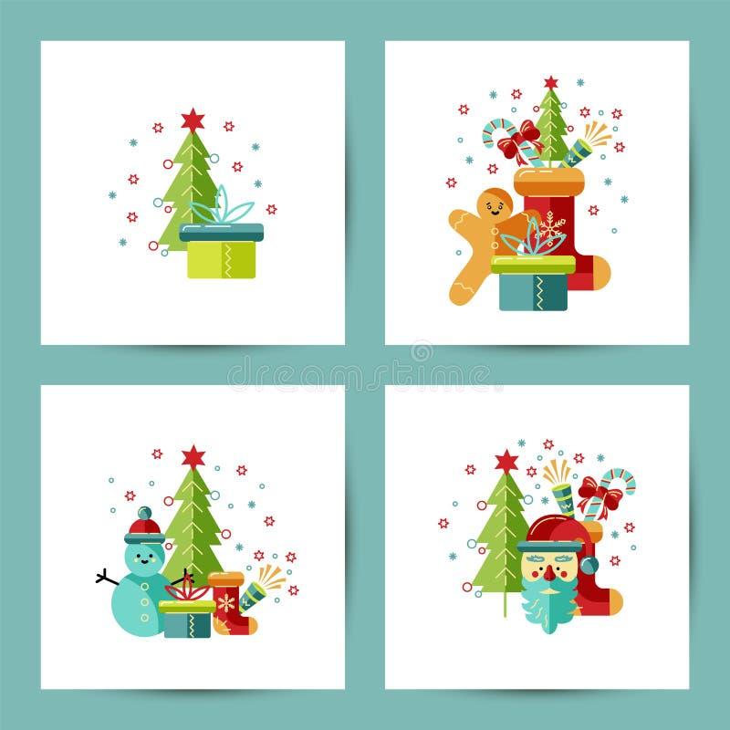 Vrolijke geplaatste Kerstmis en Gelukkige Nieuwjaarskaarten vector illustratie
