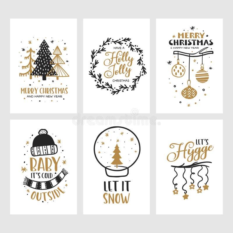 Vrolijke geplaatste Kerstmis en Gelukkige Nieuwjaarskaarten Vector uitstekende illustratie stock illustratie