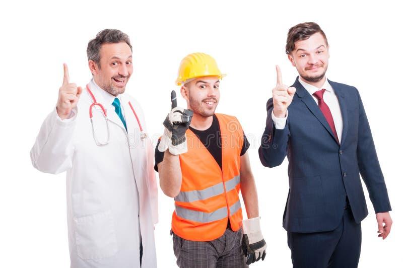 Vrolijke groep dokter, advocaat en bouwer royalty-vrije stock foto