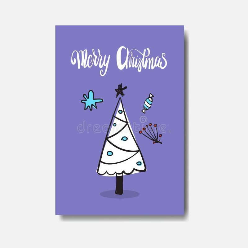 Vrolijke het Ontwerp Leuke Hand Getrokken Verfraaide Boom Geïsoleerde Prentbriefkaar van de Kerstkaartkrabbel stock illustratie