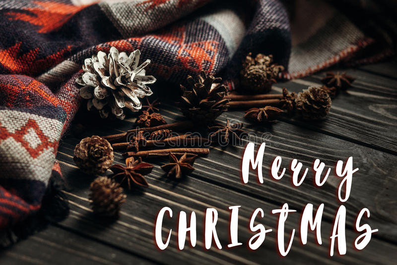 Vrolijke het tekengroet van de Kerstmistekst op de modieuze winter of de herfst w stock afbeeldingen