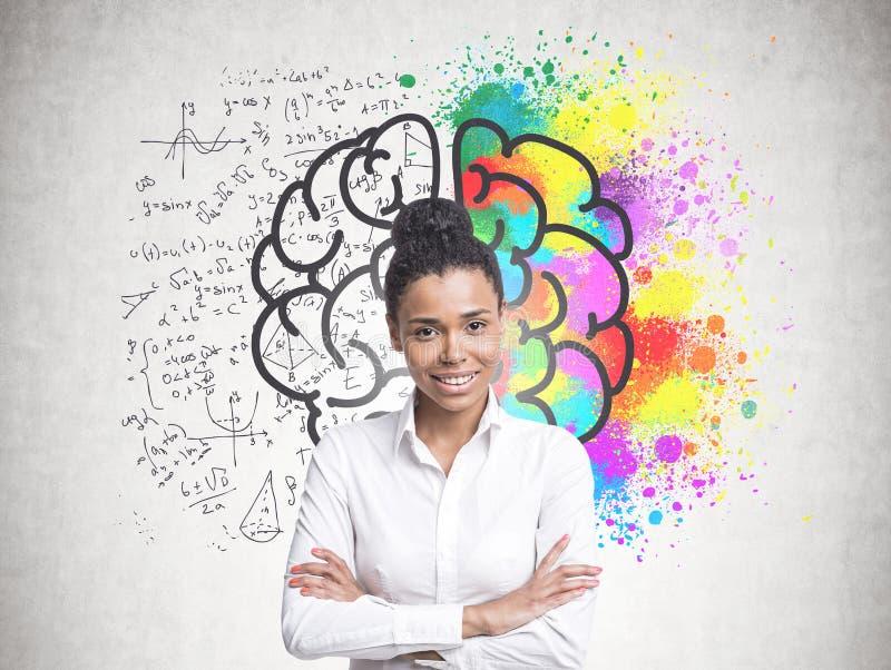 Vrolijke jonge Afrikaanse Amerikaanse vrouw, hersenen stock foto's