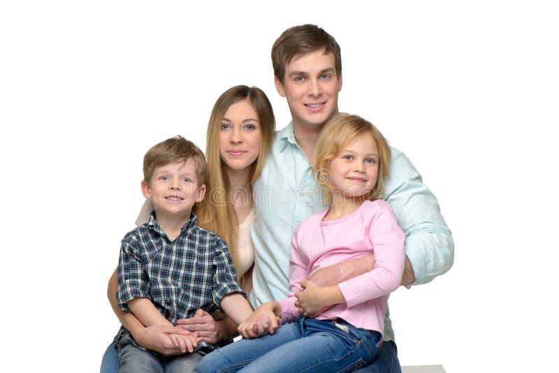 Vrolijke jonge familie van vier die stellen stock fotografie