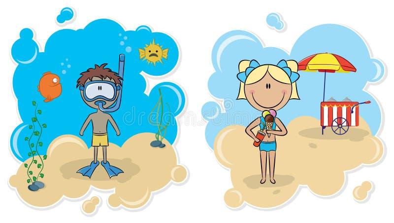 Vrolijke jongen en mooi meisje op het strand vector illustratie