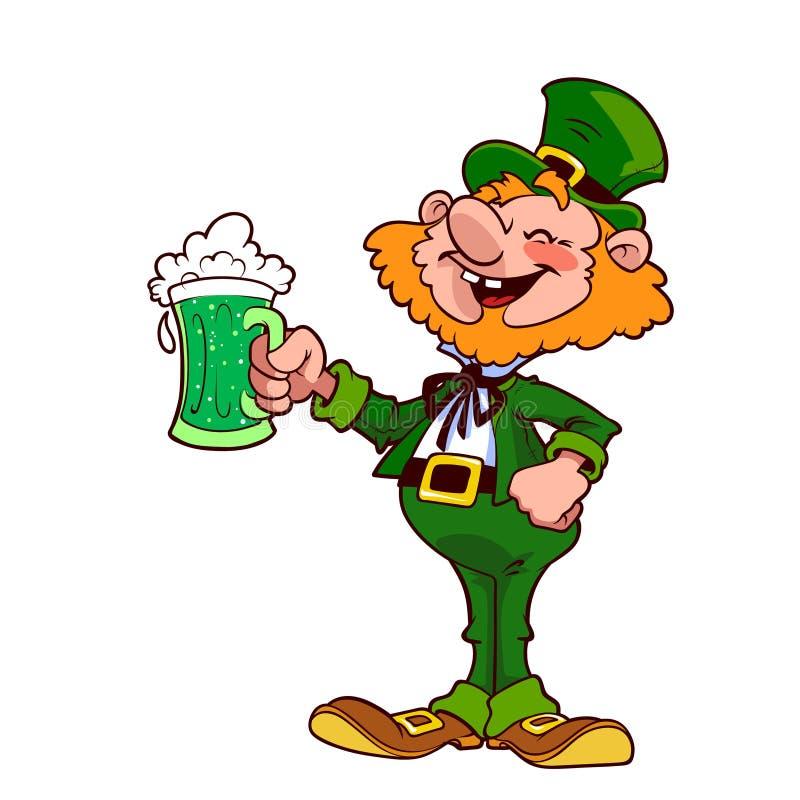 Vrolijke kabouter met een mok groen bier royalty-vrije illustratie