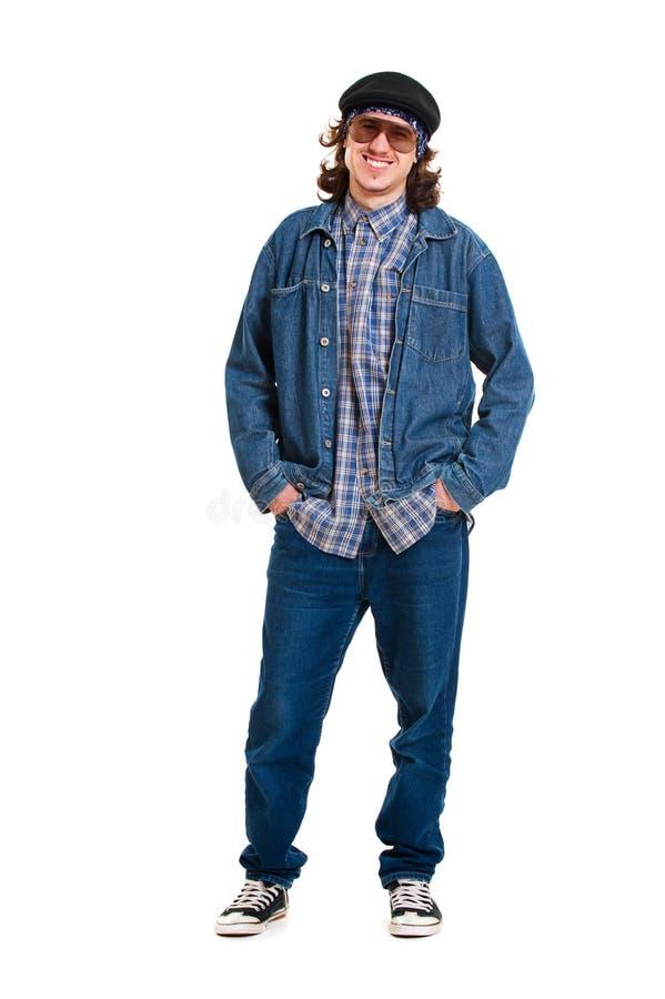 Vrolijke kerel in jeans royalty-vrije stock afbeeldingen