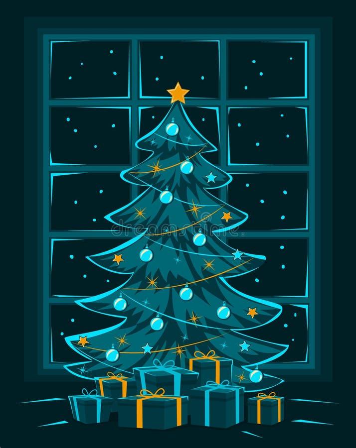 Vrolijke Kerstavond en Nacht, Gelukkige de groetkaart van de Nieuwjaar seizoengebonden winter vector illustratie
