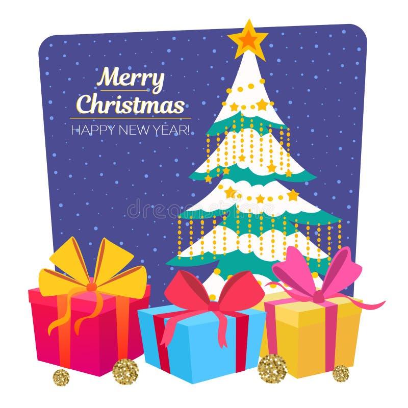 Vrolijke Kerstboom en giftdozen Kerstmis en de gelukkige kaart van de Nieuwjaargroet Vector illustratie stock illustratie