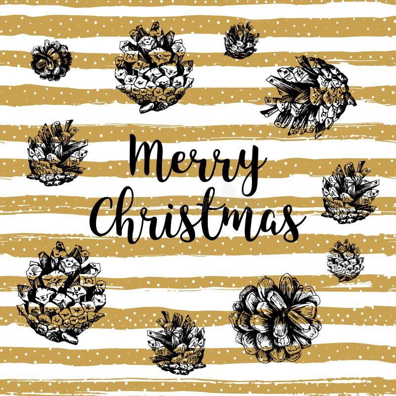 In Vrolijke Kerstkaart, Gouden gestreepte achtergrond, Hand-drawn ontwerpelementen vector illustratie