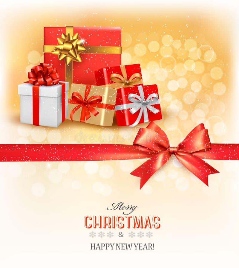 Vrolijke Kerstkaart met een lint en giftvakjes stock illustratie