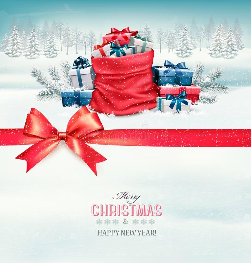 Vrolijke Kerstkaart met een lint en giftvakjes vector illustratie