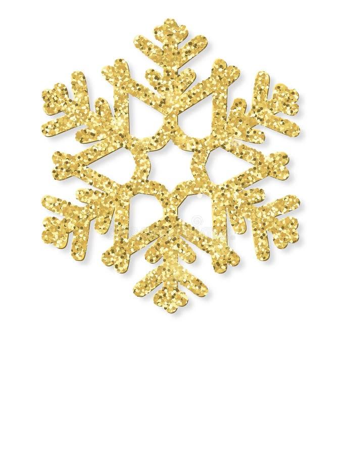 Vrolijke Kerstkaart met gouden schitterende sneeuwvlok Eps 10 vector illustratie