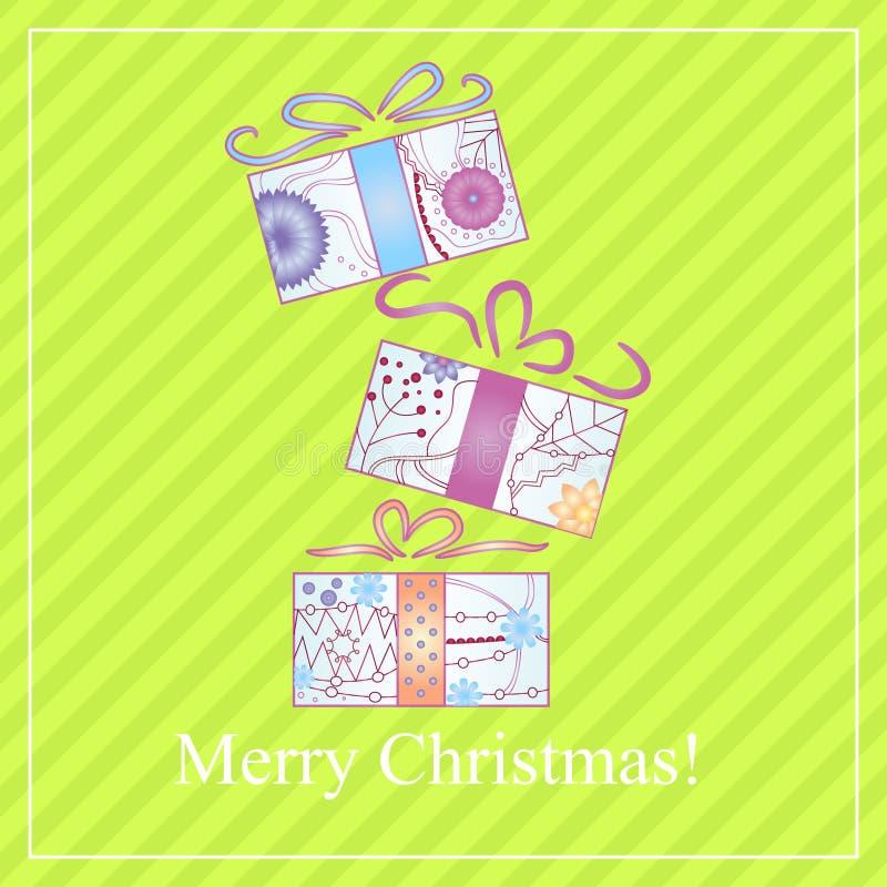Vrolijke Kerstkaart met gradiëntgiften stock illustratie