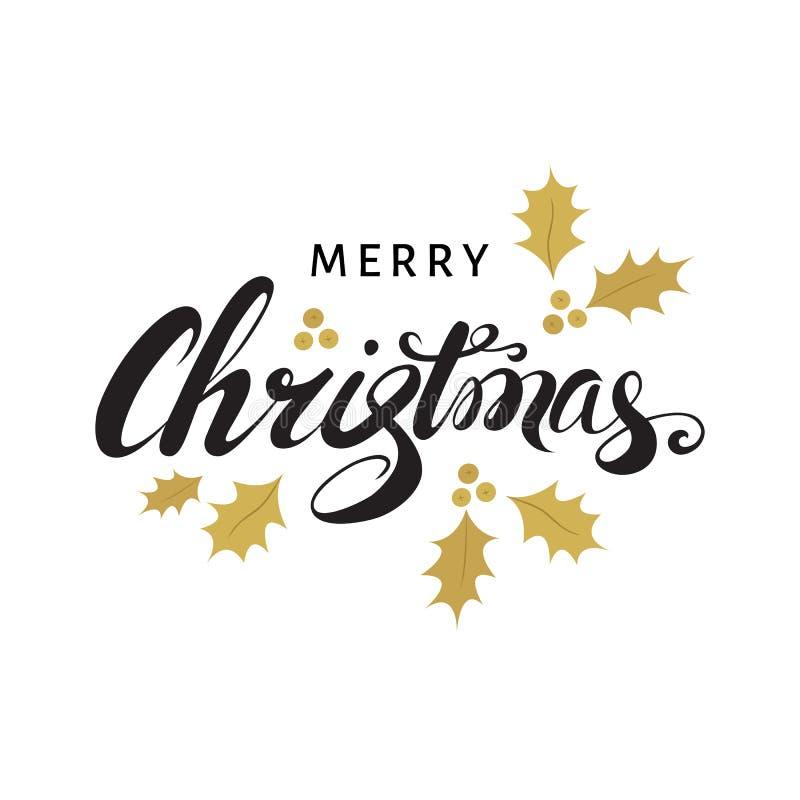 Vrolijke Kerstkaart met hand het van letters voorzien en gouden twijgen van h stock illustratie