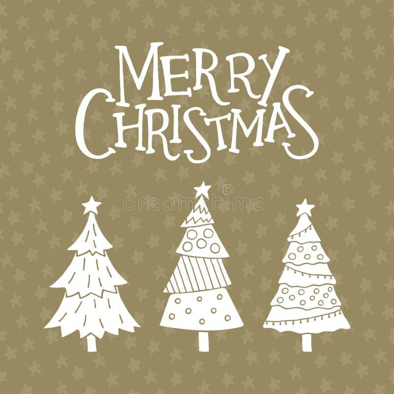 Vrolijke Kerstkaart met leuke Kerstmisbomen vector illustratie