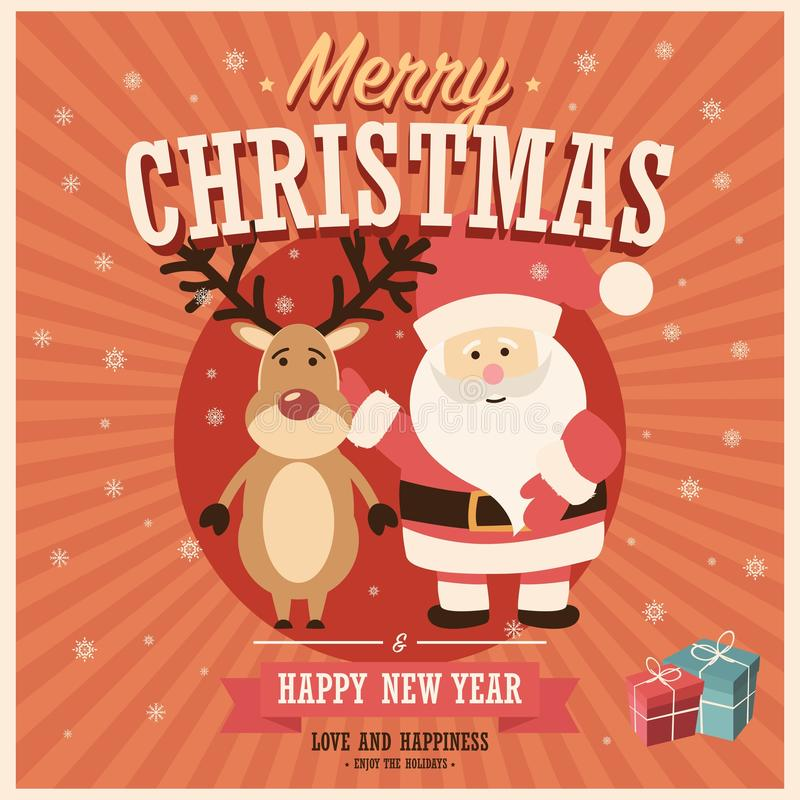 Vrolijke Kerstkaart met Santa Claus en rendier met giftvakjes stock illustratie
