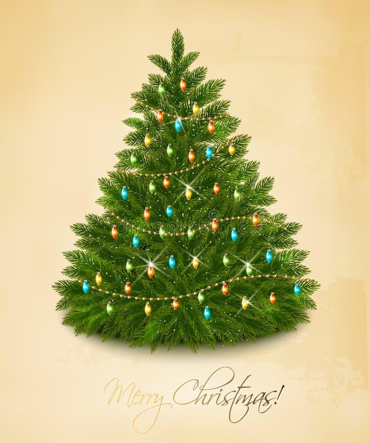 Vrolijke Kerstkaart met slinger royalty-vrije illustratie