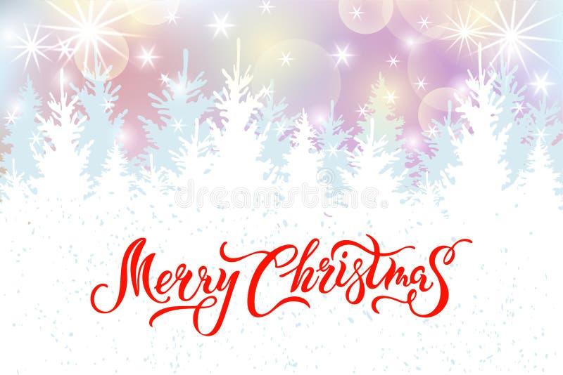 Vrolijke Kerstkaart met sparren stock illustratie