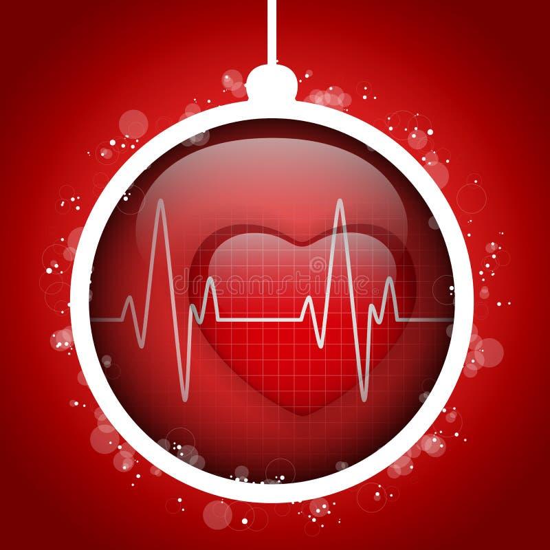 Vrolijke Kerstmis Arts Hospital Heart Ball royalty-vrije illustratie