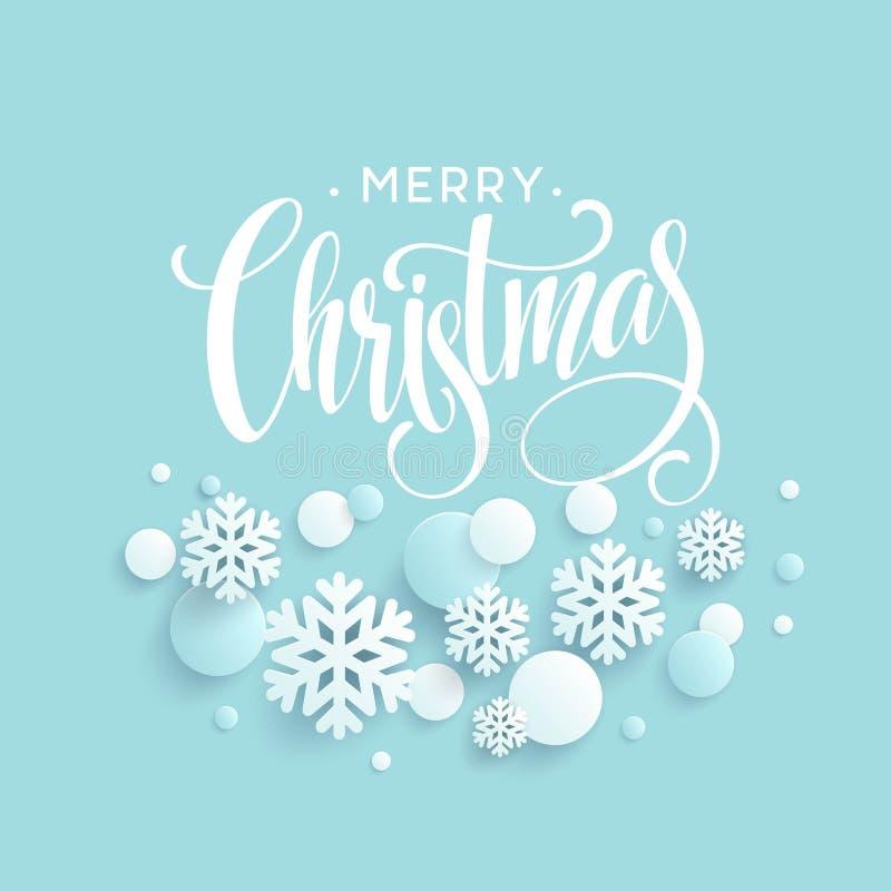 Vrolijke Kerstmis blauwe achtergrond met papercraftsneeuwvlok Begroetende van letters voorziende kaart Vector illustratie royalty-vrije illustratie