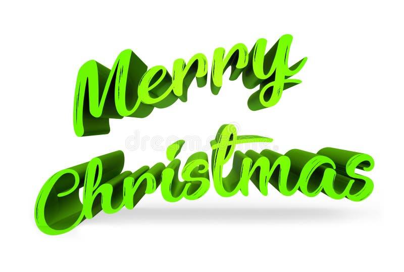 Vrolijke Kerstmis 3d uitgedreven tekst in lichtgroene kleur stock illustratie