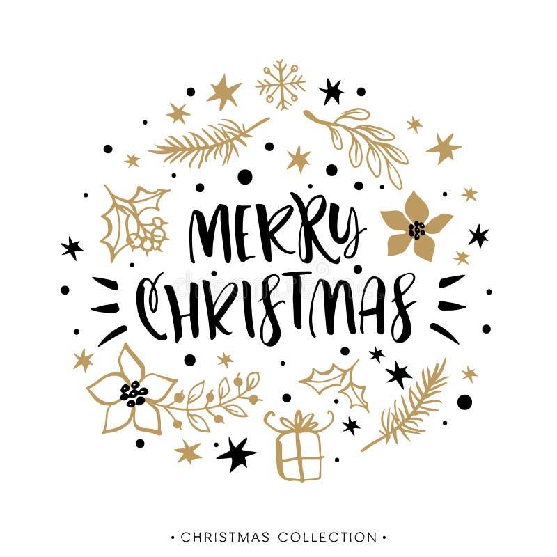 Vrolijke Kerstmis De groetkaart van de de wintervakantie met kalligrafie stock illustratie