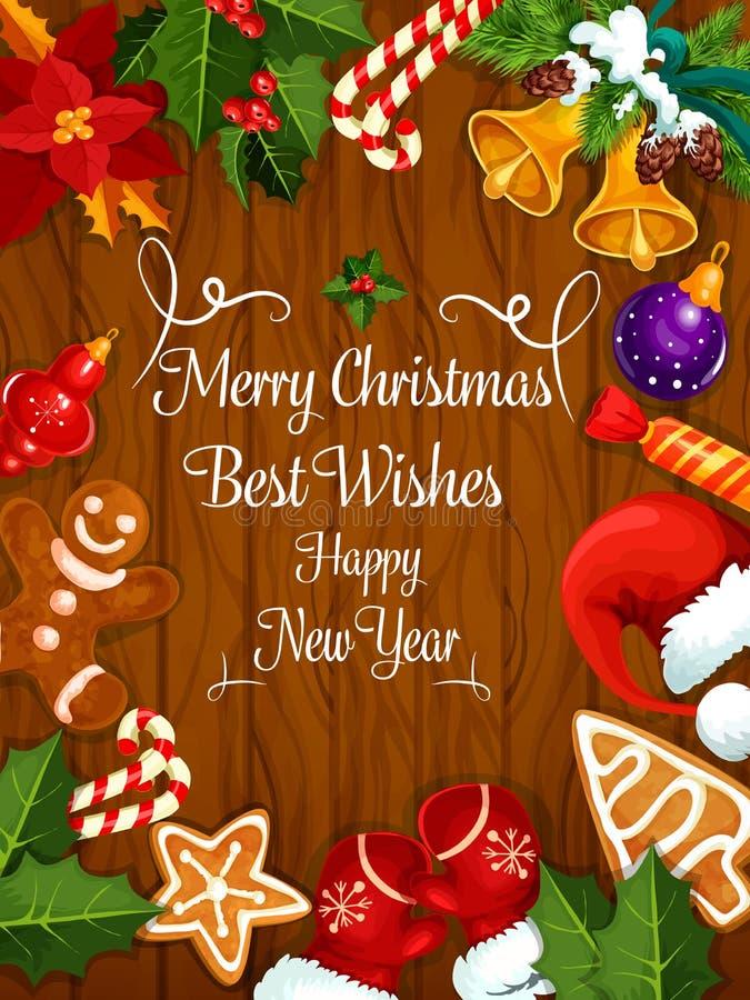 Vrolijke Kerstmis, de groetkaart van Nieuwjaarwensen vector illustratie