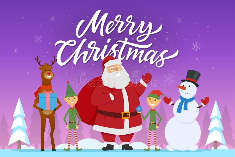 Vrolijke Kerstmis - de illustratie van beeldverhaalkarakters met Kerstman, elf, raindeer, sneeuwman royalty-vrije illustratie