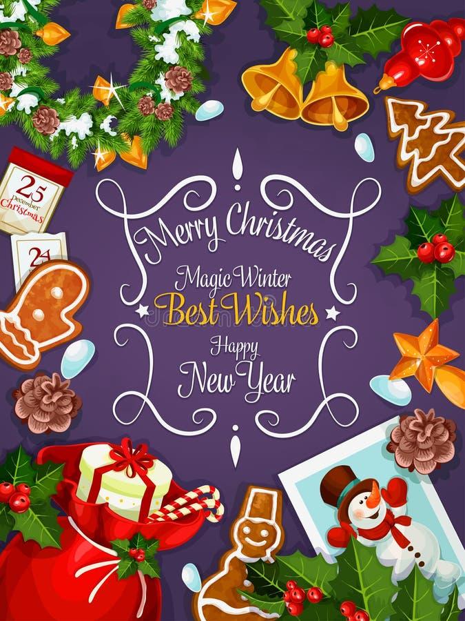 Vrolijke Kerstmis, de kaart van Nieuwjaarwensen, affiche stock illustratie