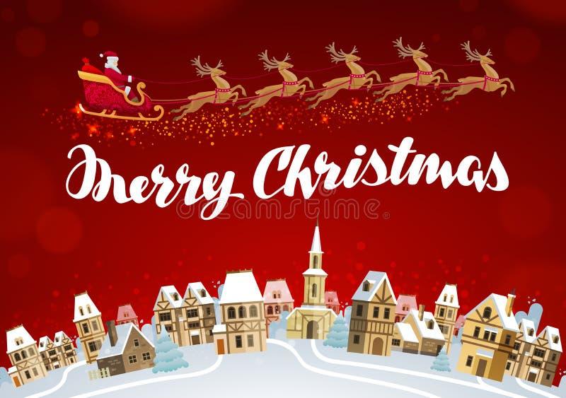 Vrolijke Kerstmis De kaartvector van de Kerstmisgroet royalty-vrije illustratie
