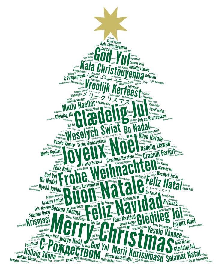 Vrolijke Kerstmis in de verschillende wolk van het talenwoord stock illustratie
