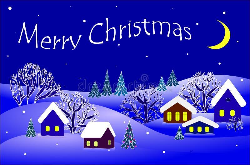 Vrolijke Kerstmis, de winterlandschap Vector vector illustratie