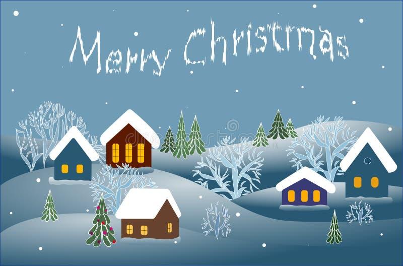 Vrolijke Kerstmis, de winterlandschap Vector royalty-vrije illustratie