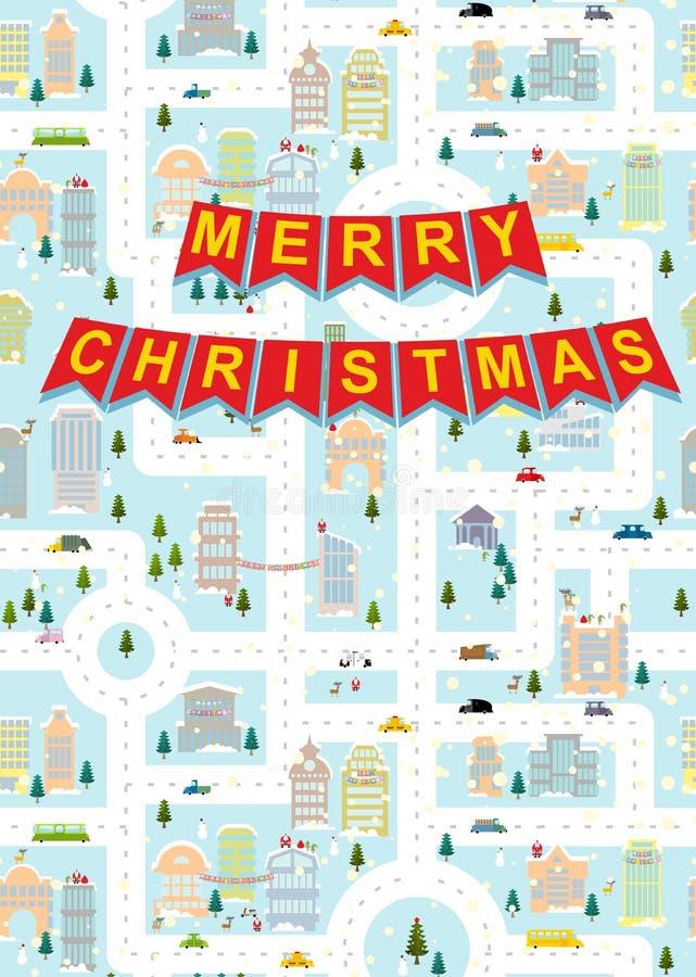 Vrolijke Kerstmis De winterstad van de groetkaart op vooravond van nieuw jaar G royalty-vrije illustratie