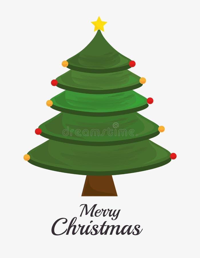 Vrolijke Kerstmis decoratieve materialen en pijnboomboom royalty-vrije illustratie