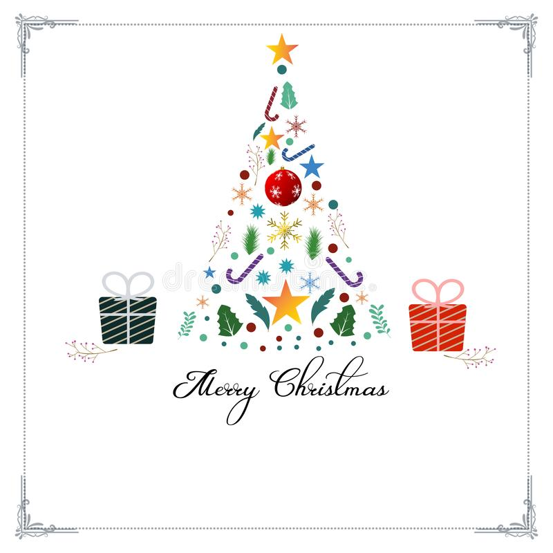 Vrolijke Kerstmis decoratieve uitstekende vectorachtergrond voor de kaartontwerpsjabloon van de vakantiegroet vector illustratie