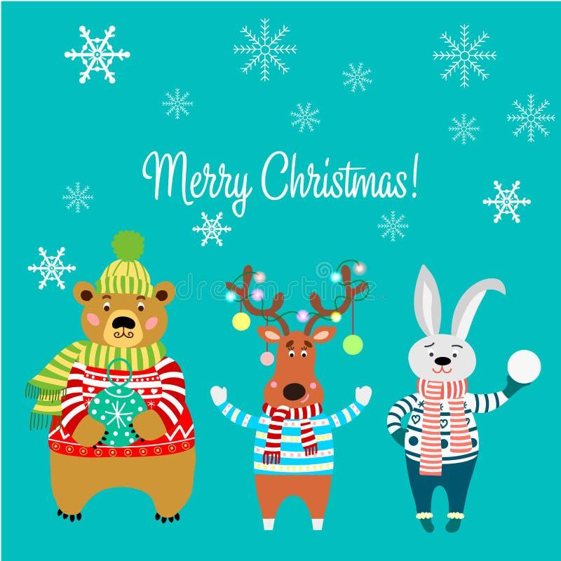 Vrolijke Kerstmis, dieren, draagt dragend een sweater met sneeuwvlokken, konijn, herten met lichten en konijn vector illustratie