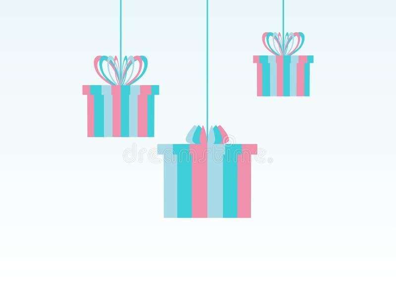 Vrolijke Kerstmis, document hangende giftvakjes Feestelijke groetkaart Vector vector illustratie
