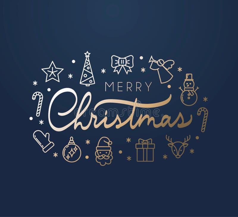 Vrolijke Kerstmis elegante kaart met het gouden van letters voorzien, pictogrammen en blauwe achtergrond vector illustratie