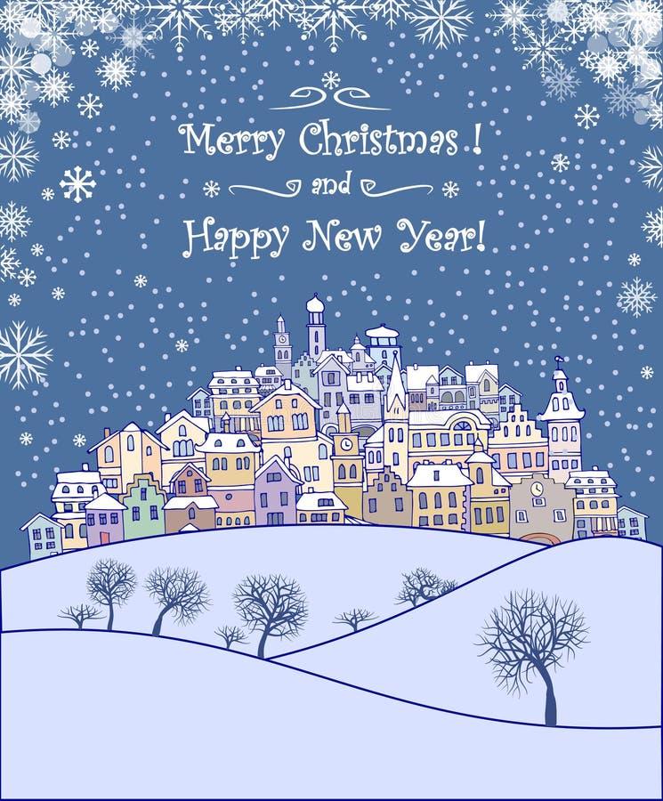 Vrolijke Kerstmis en de Gelukkige achtergrond van de Nieuwjaarvakantie royalty-vrije illustratie