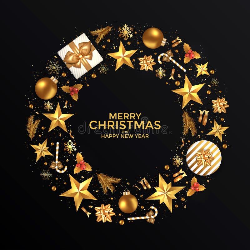 Vrolijke Kerstmis en de Gelukkige achtergrond van het Nieuwjaar royalty-vrije stock fotografie