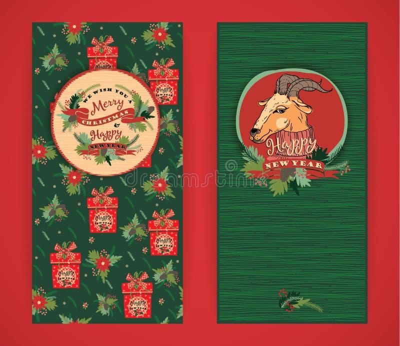 Vrolijke Kerstmis en de Gelukkige achtergrond van het Nieuwjaar Vectorillustrati stock illustratie