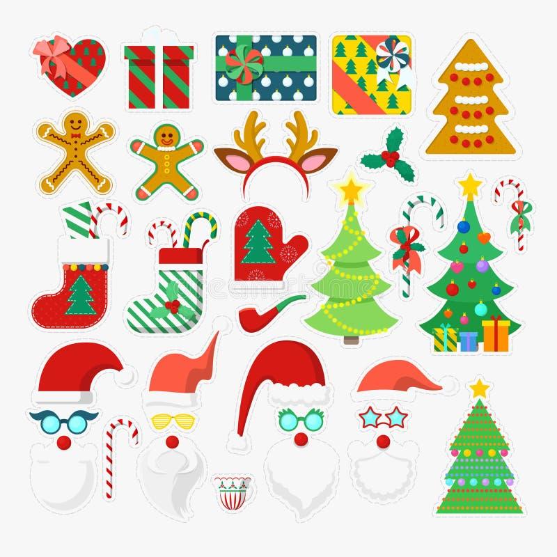 Vrolijke Kerstmis en de Gelukkige Elementen van de de Cabinepartij van de Nieuwjaarfoto met Glazen, Steunen en Geweitakken stock illustratie