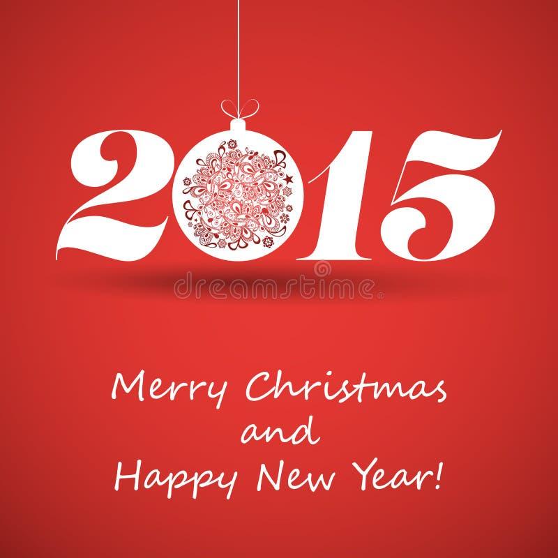 Vrolijke Kerstmis en de Gelukkige Kaart van de Nieuwjaargroet - 2015 vector illustratie