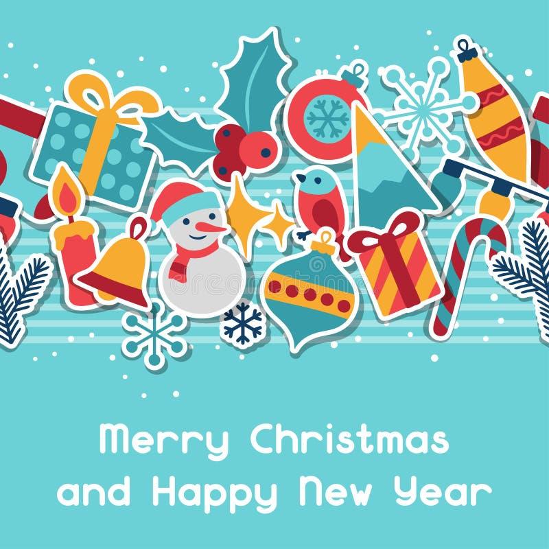 Vrolijke Kerstmis en de Gelukkige kaart van de Nieuwjaaruitnodiging vector illustratie