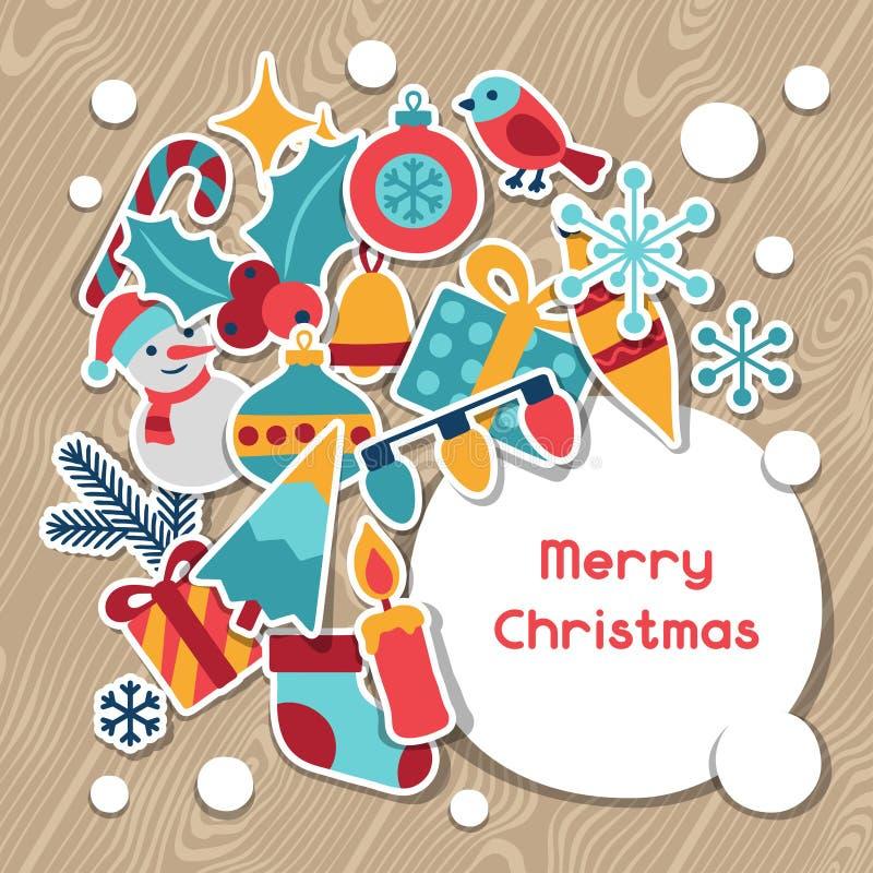 Vrolijke Kerstmis en de Gelukkige kaart van de Nieuwjaaruitnodiging stock illustratie