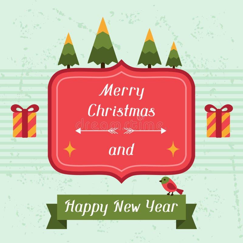 Vrolijke Kerstmis en de Gelukkige kaart van de Nieuwjaaruitnodiging royalty-vrije illustratie